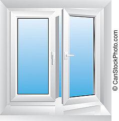 Una ventana de plástico blanca