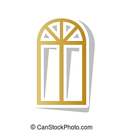 Una ventana simple. Vector. Un icono de graduación dorado con un punto blanco