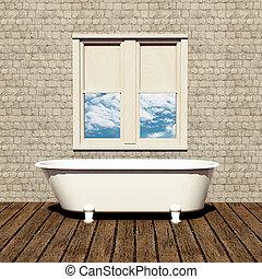 Una vieja bañera en un baño retro