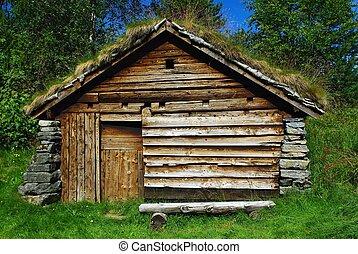 Una vieja choza de madera