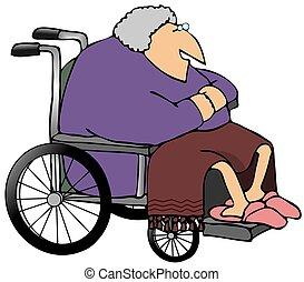 Una vieja en silla de ruedas