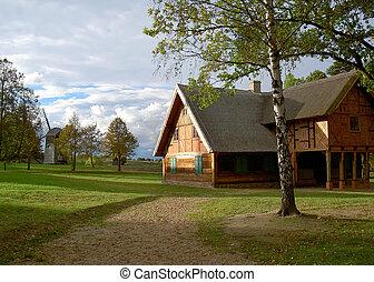 Una vieja granja de madera