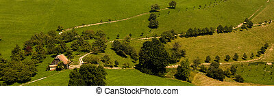 Una vieja granja en el green
