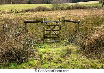 Una vieja puerta rústica cerrada en el campo