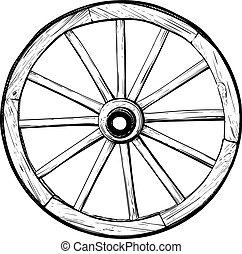 Una vieja rueda de madera