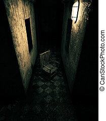 Una vieja silla en casa embrujada o asilo