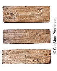 Una vieja tabla de madera aislada de fondo blanco
