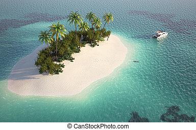 Una vista aérea de la isla del paraíso