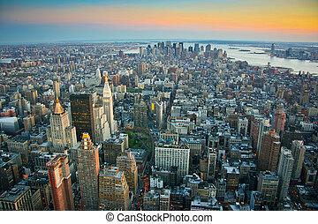 Una vista aérea sobre el manhattan más bajo de Nueva York