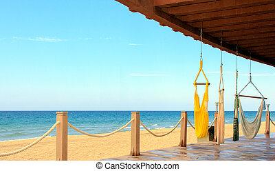 Una vista al frente del mar de corteza, México. Un lugar para la tranquilidad y la relajación.
