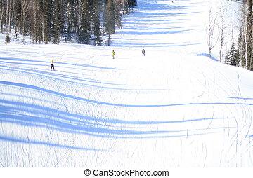 Una vista de esquí con snowboarders