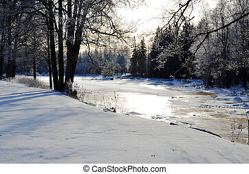 Una vista de invierno en un río pequeño