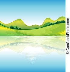 Una vista del agua y los recursos de la tierra verde