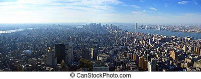 Una vista panorámica aérea sobre Manhattan inferior, Nueva York