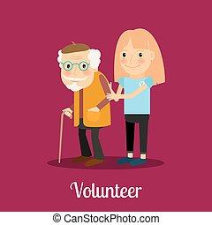 Una voluntaria cuidando a un anciano
