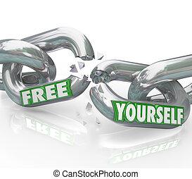 unbound, enlaces, romper libre, usted mismo, cadenas