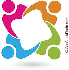 Unión de Trabajo en equipo 4 personas vector de logo