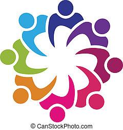 Unión de Trabajo en equipo 8 personas vector de logo
