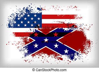 unión, flag., bandera, vs., confederado