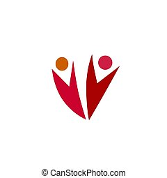 unión, gente, blanco, rosa, amistad, resumen, rojo