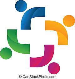 unión, socios, equipo, logotipo