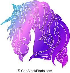 unicorn., vector., caricatura, línea, logo., silueta, bosquejo, character., vector, gráfico, hermoso, style., divertido, illustration., arte, unicornio, lindo, belleza, ilustración, elemento