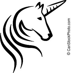 unicornio, cabeza, caligraphy