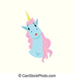 Unicornio gracioso y gracioso vector de dibujos animados de dibujos animados ilustrado en un fondo blanco