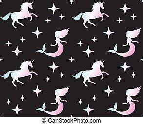 unicornio, holographic, vector, sirena, patrón