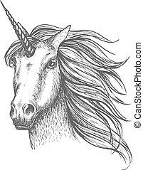 Unicornio mítico vector de caballos