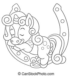 unicornio, página, colorido