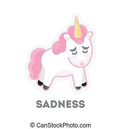 Unicornio triste aislado.