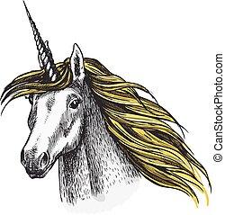 Unicornio vector de caballos dibuja animal de cuento de hadas