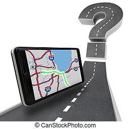 Unidad GPS de navegación en camino, signo de interrogación