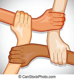 unidad, manos