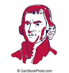 unido, 3, jefferson, states., autores, independencia, declaración, vector, illustration., presidente, uno, thomas