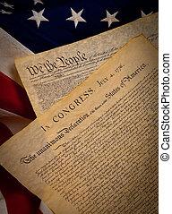 unido, constitución, estados, bandera, plano de fondo, declaración, independencia