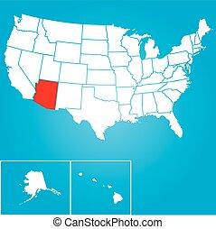unido, -, ilustración, estados, estado, arizona, américa