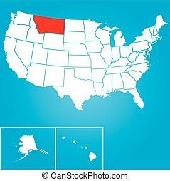 unido, -, ilustración, estados, estado, montana, américa