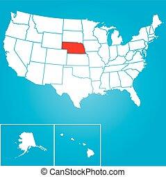 unido, -, ilustración, estados, estado, nebraska, américa