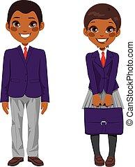 Uniforme de estudiantes afroamericanos