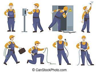 uniforme, elementos, profesional, eléctrico, electricista, reparación