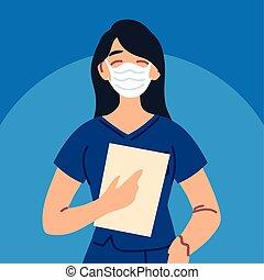 uniforme, máscara cara, enfermera, utilizar, mujer