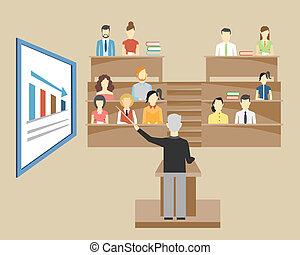 universidad, estudiantes, profesor, dictar una conferencia