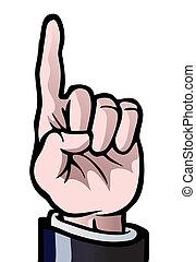uno, arriba, dedo