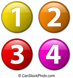 Uno, dos, tres, cuatro, placas vectoriales con números