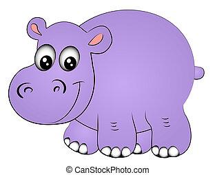 uno, hipopótamo, rinoceronte, aislado