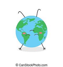 upside, divertido, abajo, caricatura, meditar, globo, carácter