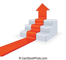 upstairs., concepto, crecimiento, flecha
