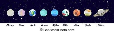 urano, mercurio, icono, neptuno, saturno, set., venus, plutón, plano, marte, dibujo, planeta, solar, system., planetas, tierra, jupiter., caricatura